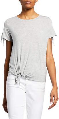 Majestic Extra Fine Scoop-Neck Tee with Front Tie