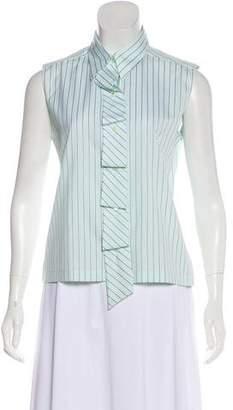 Chanel Ruffled Pinstriped Top