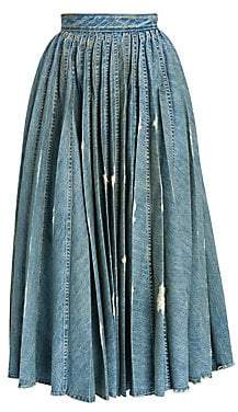 Miu Miu Women's Denim Pleated Midi Skirt