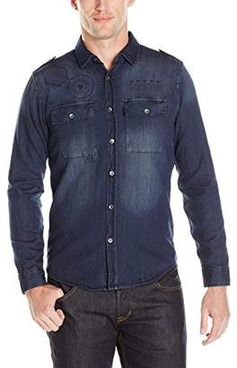 GUESS Men's Slim Denim Button Down Shirt in Rally Blue Wash