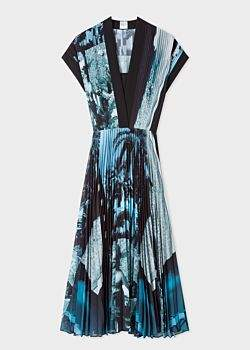 Women's 'Paul's Photo' Print Pleated Midi Dress
