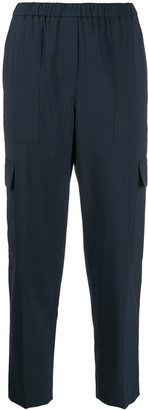 Theory elastic-waist tapered-leg trousers
