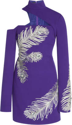 David Koma Asymmetrical Neck Feather Dress
