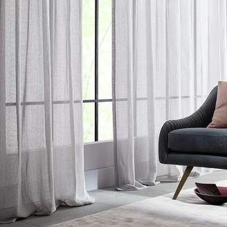 west elm Solid Open Weave Sheer Curtains (Set of 2) - Frost Gray