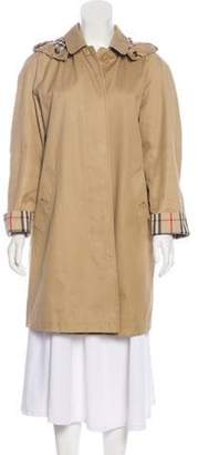 Burberry Hooded House Check-Lined Coat Tan Hooded House Check-Lined Coat