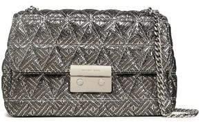 MICHAEL Michael Kors Quilted Metallic Printed Suede Shoulder Bag