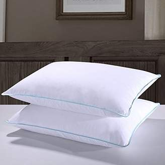 Homelike Moment Goose Down Pillow Queen Feather Bed Pillows for Sleeping Standard Queen Size Pillows Set of 2 100% Cotton Fabric