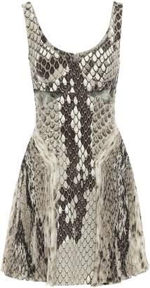 Roberto Cavalli Cutout Jersey And Silk-chiffon Mini Dress