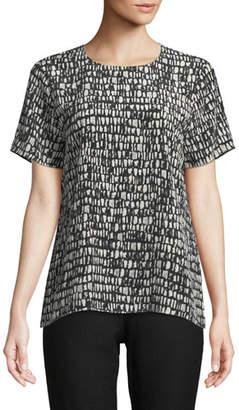 Eileen Fisher Short-Sleeve Black-Bone-Print Top