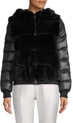 Rabbit Fur-Accented Puffer Jacket