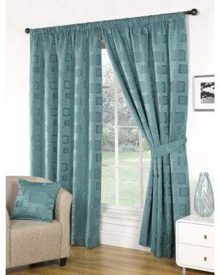 Hamilton Mcbride Milano Pencil Pleat Lined Teal Curtains & Tie Backs - 66X90 Inches (168X229Cm)