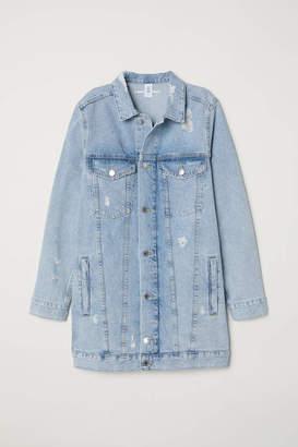H&M Long Denim Jacket - Light denim blue/Trashed - Women