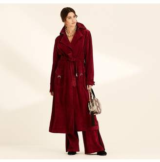 Amanda Wakeley Berry Suede Long Trench Coat