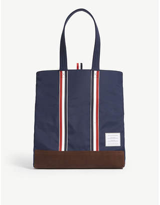 Thom Browne Navy Blue Stripe Unstructured Nylon And Suede Tote Bag