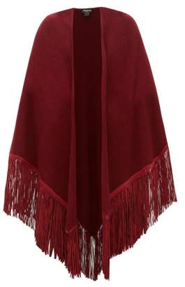 Babjades - Leather Tassel Cashmere Shawl - Womens - Burgundy