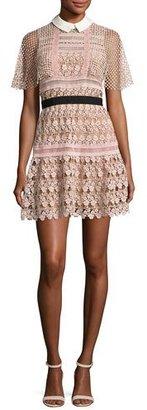 Self-Portrait Floral-Lace Vine Cape Mini Dress, Blush $545 thestylecure.com