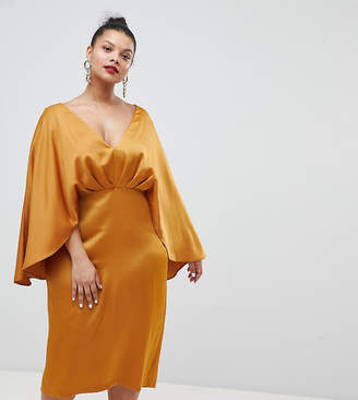 Asos DESIGN Curve satin cape kimono sleeve deep plunge midi dress