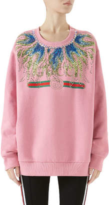 Gucci Long-Sleeve Crystal-Embroidered Felted Cotton Jersey Oversized Sweatshirt