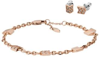 Fossil Chevron Rose Gold-Tone Stainless Steel Studs And Bracelet Box Set jewelry