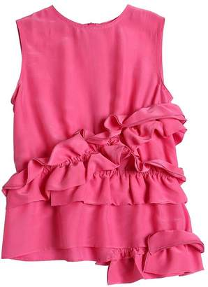 Marni Junior Sleeveless Crepe Shirt W/ Ruffles