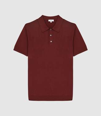 Reiss Varsity - Short Sleeved Cotton Polo in Rust