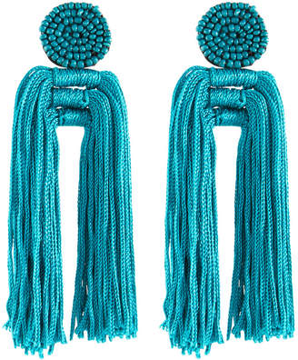 Panacea Nylon Multi-Tassel Earrings, Teal