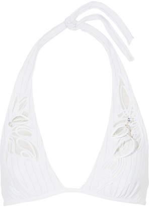 La Perla Avant Garden Embellished Mesh-trimmed Triangle Bikini Top - White