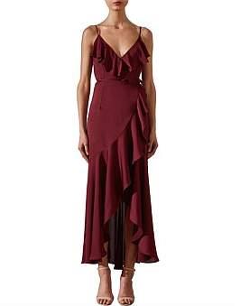 Shona Joy Bias Frill Wrap Dress Garnet