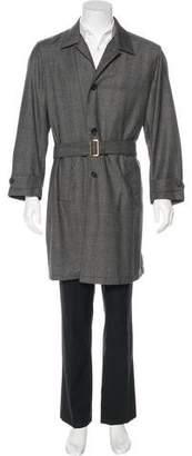 Prada Wool & Cashmere-Blend Plaid Trench Coat