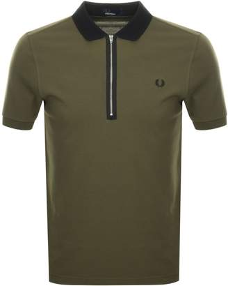 Fred Perry Zip Polo T Shirt Green
