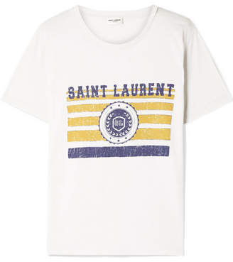 Saint Laurent Printed Cotton-jersey T-shirt - White