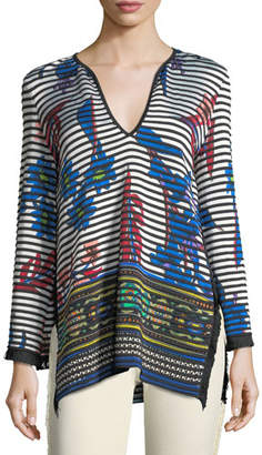 Etro Striped Orchid Knit Pullover Sweater