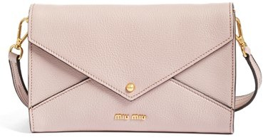 Miu Miu Miu Miu Madras Convertible Leather Clutch With Guitar Strap - Pink