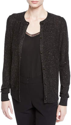 Lafayette 148 New York Long-Sleeve Shimmering Sequin Silk Cardigan