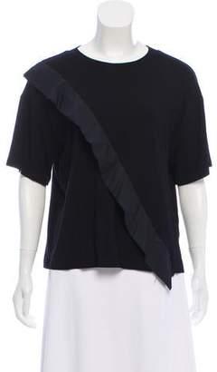 Hache Ruffle-Trimmed Short Sleeve Top