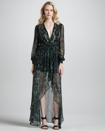 Haute Hippie Long-Sleeve Printed High-Low Gown