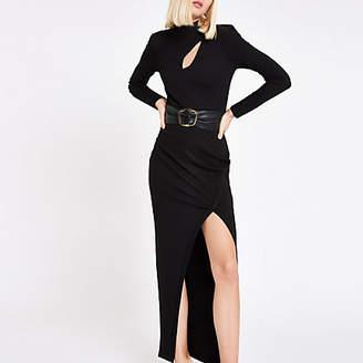 River Island RI Studio black belted maxi bodycon dress