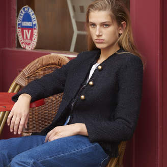 Sandro Fringed jacket with gold buttons