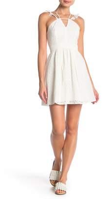 BCBGeneration Halter Fit & Flare Eyelet Knit Dress