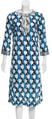 Tory Burch Printed Beaded Midi Dress