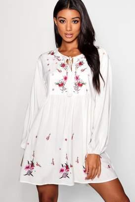 boohoo Embroidered Smock Dress