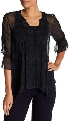 Elie Tahari Miriam Crochet Detailed V-neck Blouse