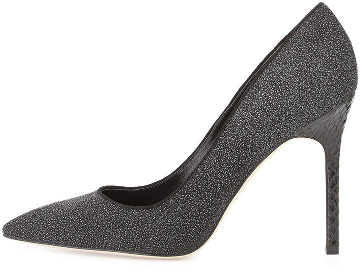 Brian Atwood Naina Textured Suede Point-Toe Pump, Black