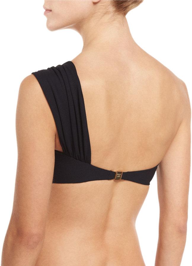 Marysia Venice One-Shoulder Swim Top, Black 3