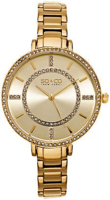 Co SO & Ny Women'S Soho Gold Stainless Steel Thin Bracelet Crystal Filled Bezel Dress Quartz Watch J155P43