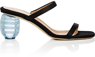 Women's Acrylic-Glass-Heel Satin Sandals