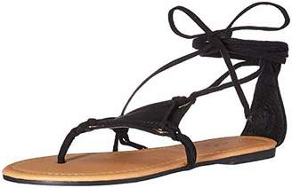 Qupid Women's Thong lace up Sandal Flat