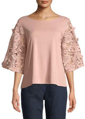 Joan Vass Bateau-Neck Lace-Sleeve Knit Top