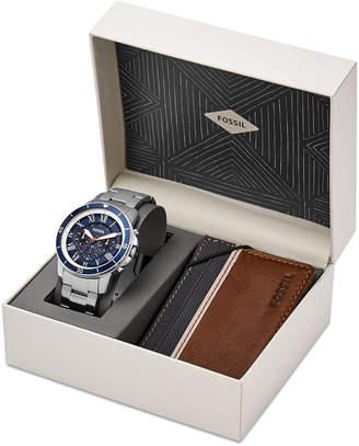 Fossil Men's Chronograph Grant Sport Stainless Steel Bracelet Watch Box Set 44mm FS5336SET $155 thestylecure.com