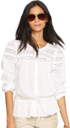 Ralph Lauren Jeans Co. Crochet-Trim Cotton Blouse